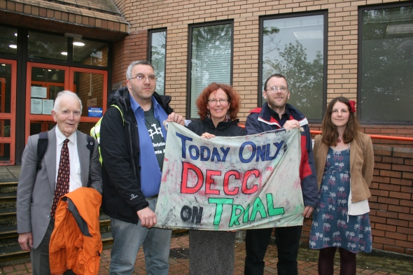 The five members of Christian Climate Action outside court after the verdict