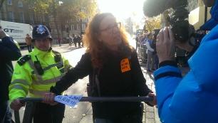 Ruth Jarman glues herself to railings