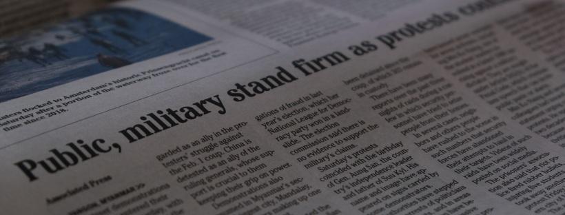 A newspaper headine